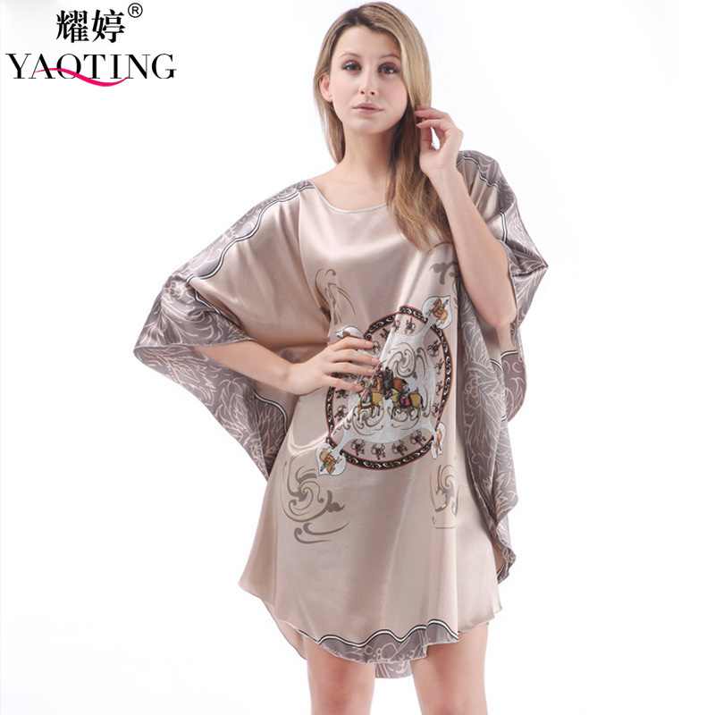 60fe3819aa Yao Ting explosion silk sexy lady short sleeved summer silk bat sleeve size dress  female