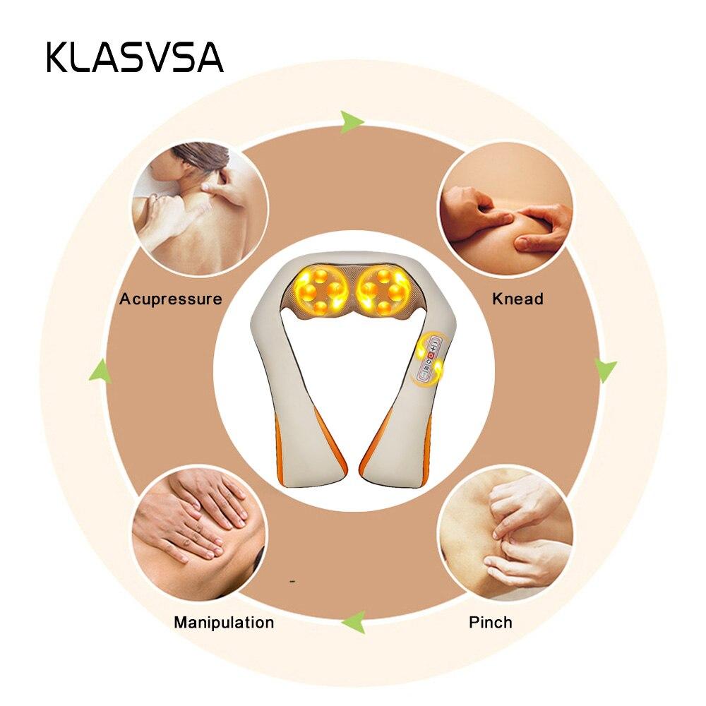 KLASVSA calefacción eléctrica masajeador de cuello cabo Shiatsu coche infrarrojos KneadingTherapy dolor de hombro, masajeador relajarse - 2