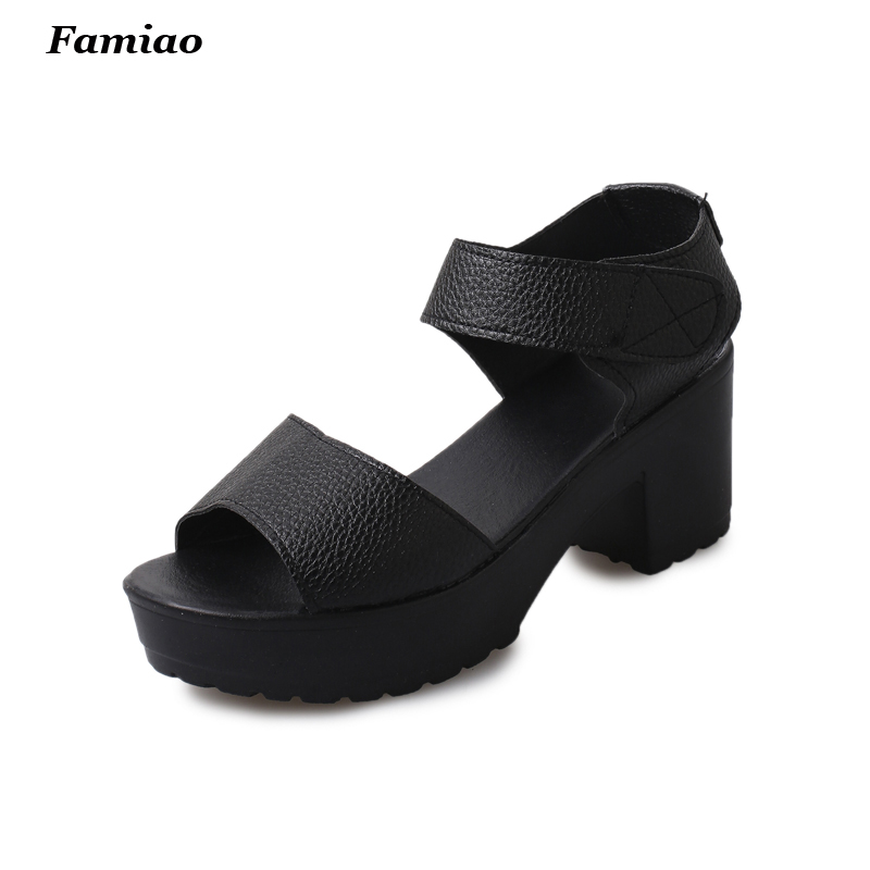 Size 35-41 Summer Peep-toe Woman Sandals,Platform Thick Heel Women Shoes Hook & Loop All Match Shoes For Ladies sandalias mujer vtota summer pep toe sandals women increased thick heel shoes woman wedge summer shoes back strap platform shoes for ladies