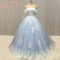 SuperKimJo Blue Lace Applique Wedding Dresses Luxury Sparkly Beaded Bridal Ball Gown Boho Vestido De Noiva