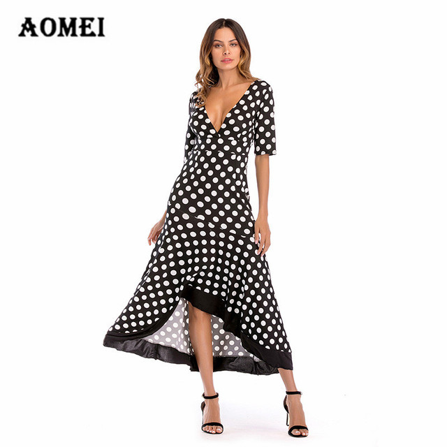 9851baa2bf Women Dress Polk Dot Half Sleeve V Neck Irregular Length Backless Ruffle  Summer A Line Ladies Fashion Dresses Robes Female Gown
