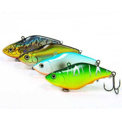 Trulinoya DW22 VIB Fishing Lures 7cm 13.8g Fishing Hard Baits with Movable Steel Balls Double Treble Hooks Fish Scale