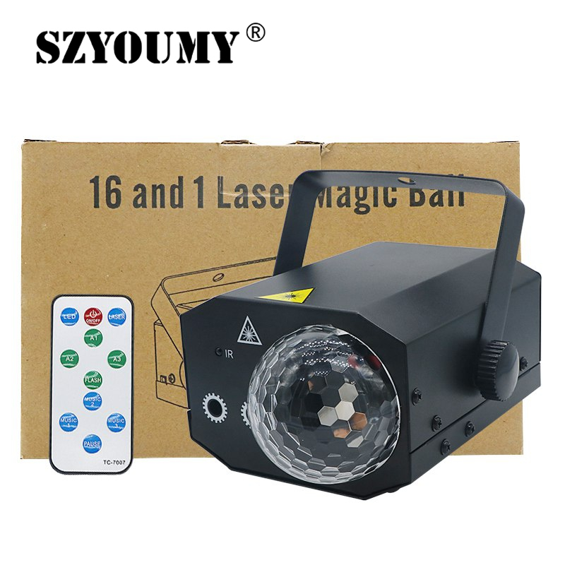 SZYOUMY 16 in 1 Pattern 10W LED Bar KTV Stage Light Laser Magic Ball Light Sound Control Auto Remote Control 2 Color Option