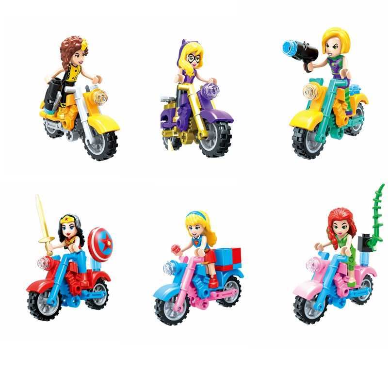 6 pieces / set of superhero girls compatible with Legoings super girl bat girl motorcycle building blocks children's toys gifts