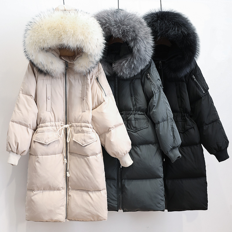 Big Real Raccoon Fur 2019 Winter Jacket Women White Duck Down Parkas Female Long Loose Hooded Thick Warm Jacket Women Down Coat