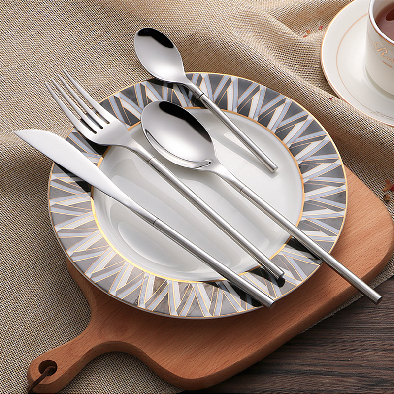 18 10 Stainless Steel Dinnerware Set 24 piece Korean Style Luxury Solid Silver Cutlery Set Top