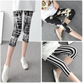 New Women Seven points Leggings Summer Style Microfiber Soft with Print High Elastic Cartoon Print sporting Milk Silk leggings