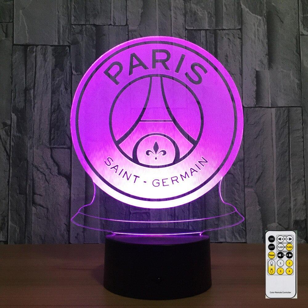 7 Color Lamp 3D Visual LED Night Lights for Kids Touch USB Table Lampara Lampe Nightlight Paris Saint Football 2018 Dropship