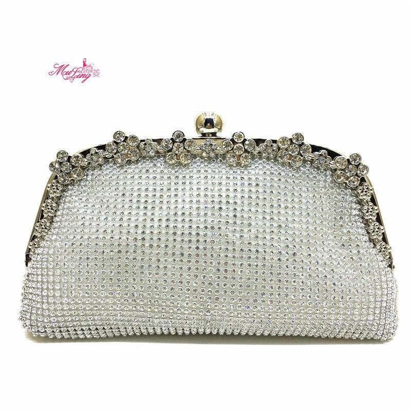 купить Dumplings Shape Clutch Bag Evening Bag Crystal Bling Handbag Gems Purse Wedding Bag for Women +Detachable Chains Gold Gift Box по цене 2359.51 рублей