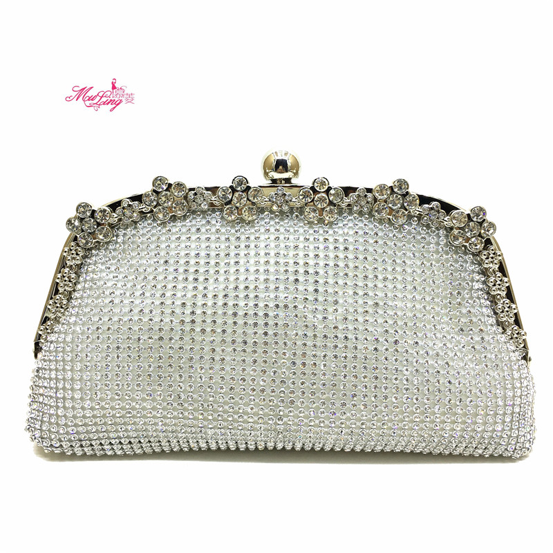 Dumplings Shape Clutch Bag Evening Bag Crystal Bling Handbag Gems Purse Wedding Bag for Women +Detachable Chains Gold Gift Box