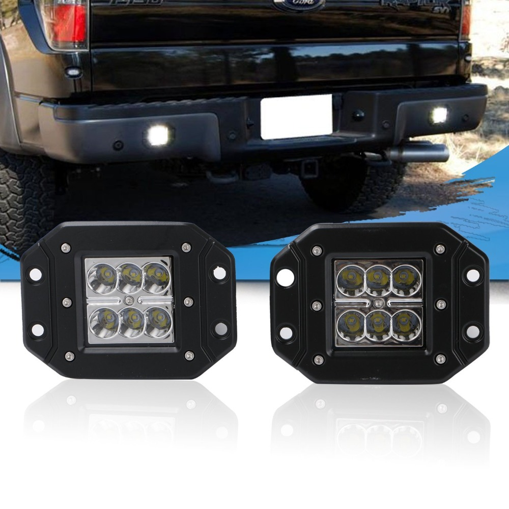 3x3 Flush Mount Backup Reverse Front Rear Bumper Led Lights