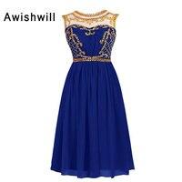 Королевский синий Короткие Homecoming платья онлайн Beadings шифон See Through Назад вечерние платье сладкий 8th Класс Выпускной платье