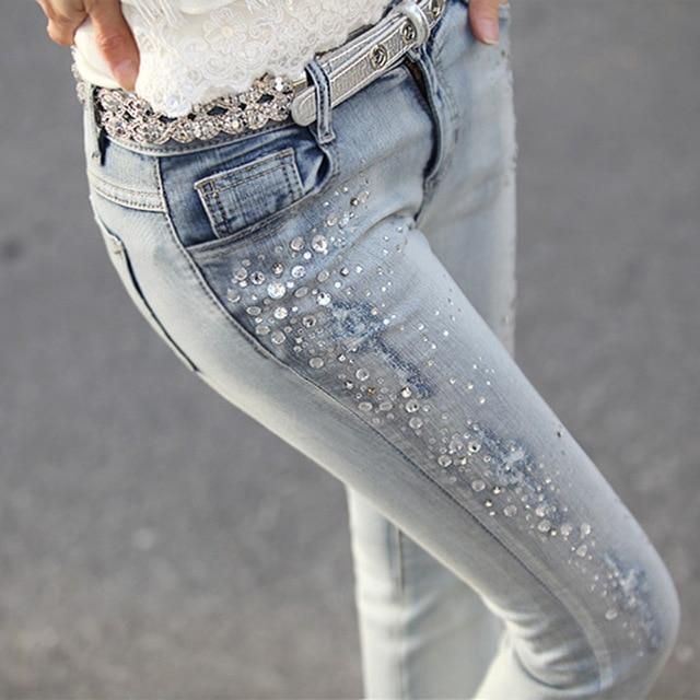 New 2016 Women Fashion Diamond Jeans Casual Denim Pants Woman Skinny Trousers Elastic Pencil Pants Plus Size Women jeans