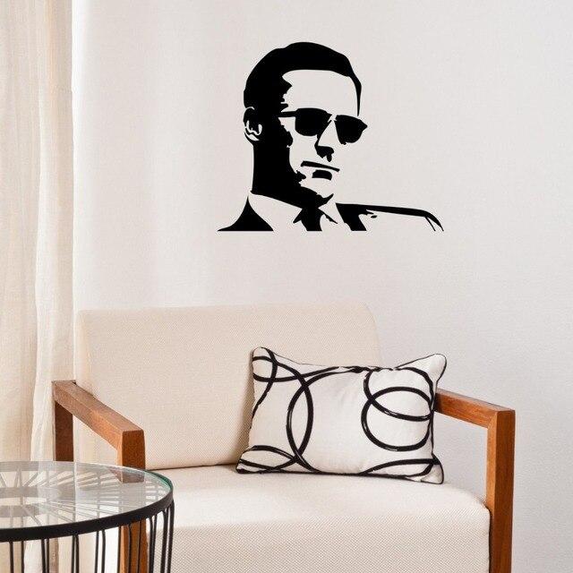 Coole Sonnenbrillen Man Wandaufkleber Vinyl Dekoration Wohnzimmer  Wandtattoo Kunst Porträt Wandbild DIY Moderne Mann Muster SYY785