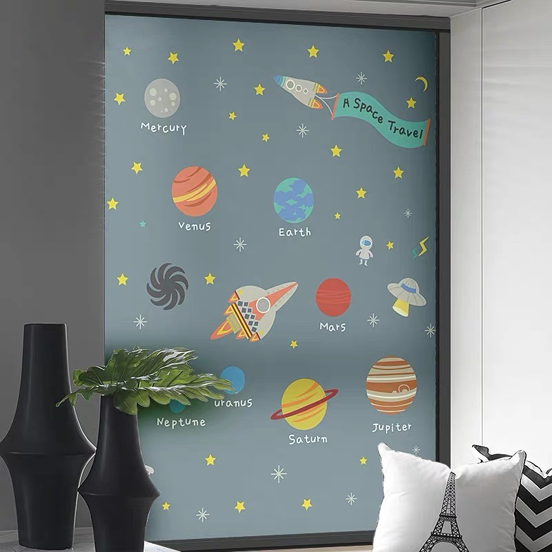 Star Ship Window Film Static Glass Sticker Frosted Bedroom Shading Matte Transparent Opaque Glue Free Customized Privacy Film