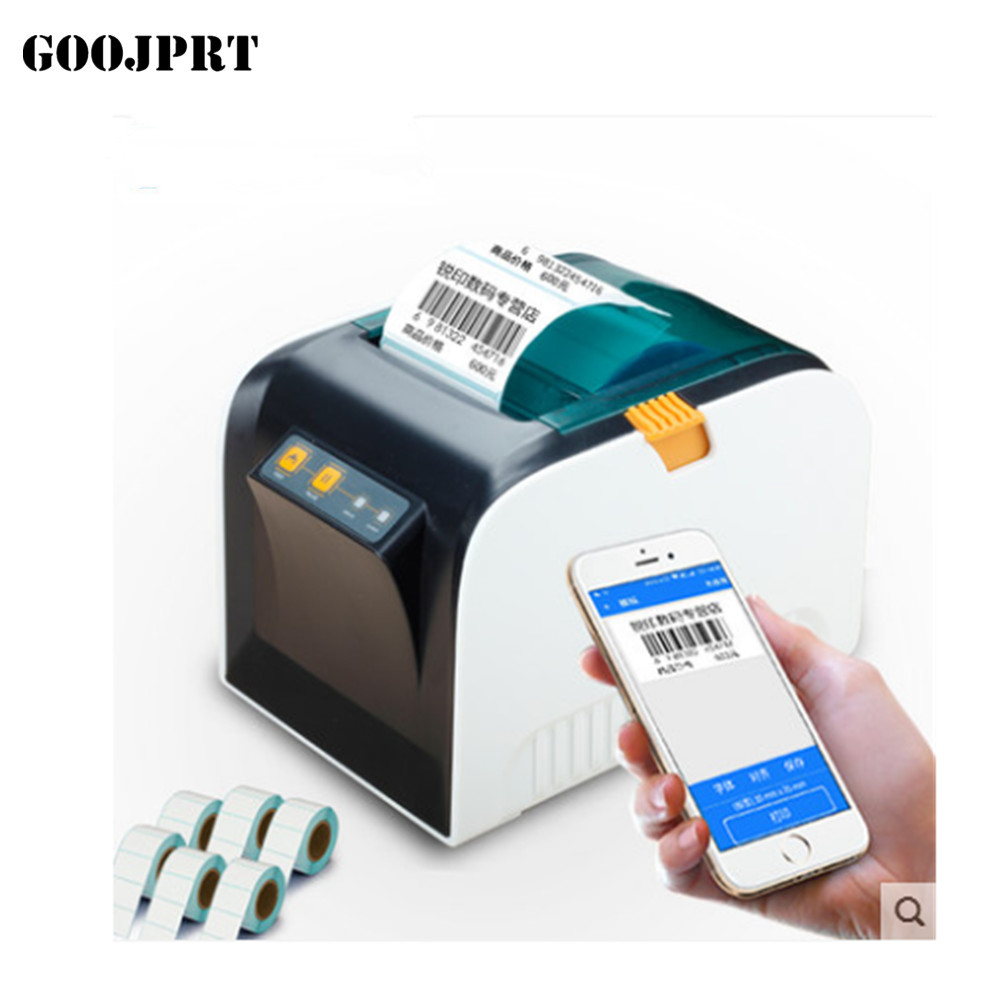 Free shipping Thermal Label Printer 80mm Sticker Printing Machine with USB Serial Port EU PLUG 2017 new arrived usb port thermal label printer thermal shipping address printer pos printer can print paper 40 120mm