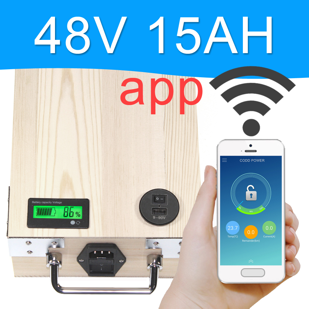 APP 48V 15AH Electric bike LiFePO4 Battery Pack Phone control Electric bicycle Scooter ebike Power 800W Wood цена