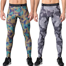 2018 New men camouflage/compression tights/Leggings Running sports/Gym male trousers/capris of fitness/pants of quick-drying(China)