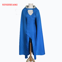 VEVEFHUANG Game of Thrones Cosplay Daenerys Targaryen Wedding Dress Costume Halloween party long Blue Dress Sexy Blue Dress
