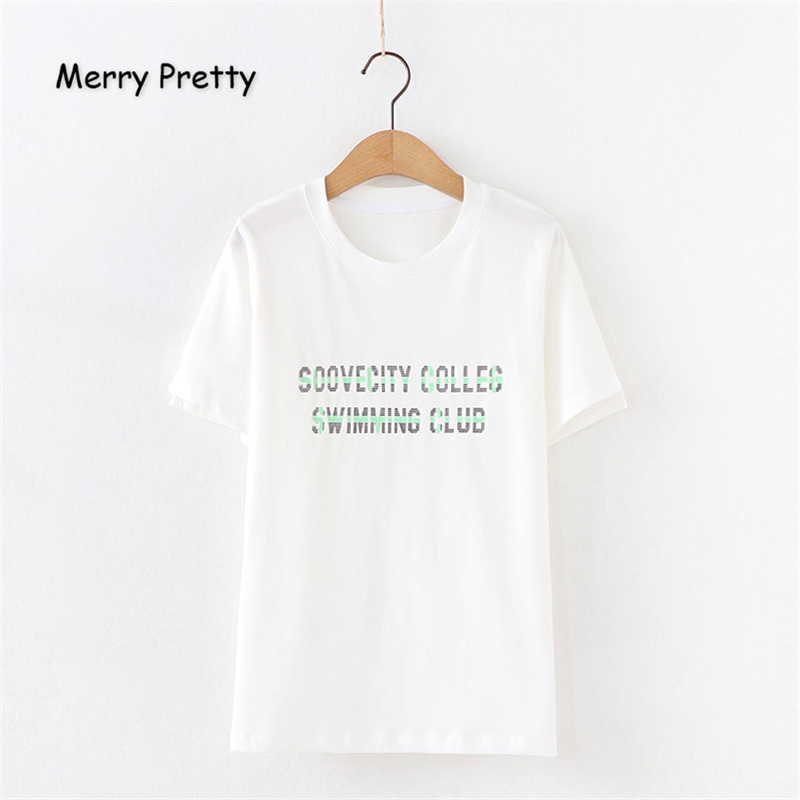 Merry Pretty Women Letter Print White T Shirts 2019 Summer O Neck Short Sleeve Cotton T Shirt For Femme Casual Loose Tops Tees in T Shirts from Women 39 s Clothing