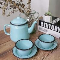 Vintage nostalgic American classic enamel coffee cup pot Ceramic Cups Tea Cup Saucer