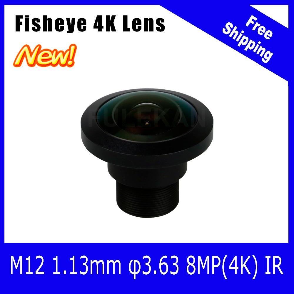 ФОТО 4K Lens 8Megapixel Fisheye M12 Mount Lens 1.13mm 1/2.7 Inch 220 Degree For OV8835/OV10823 Sensor 4K Camera Free Shipping