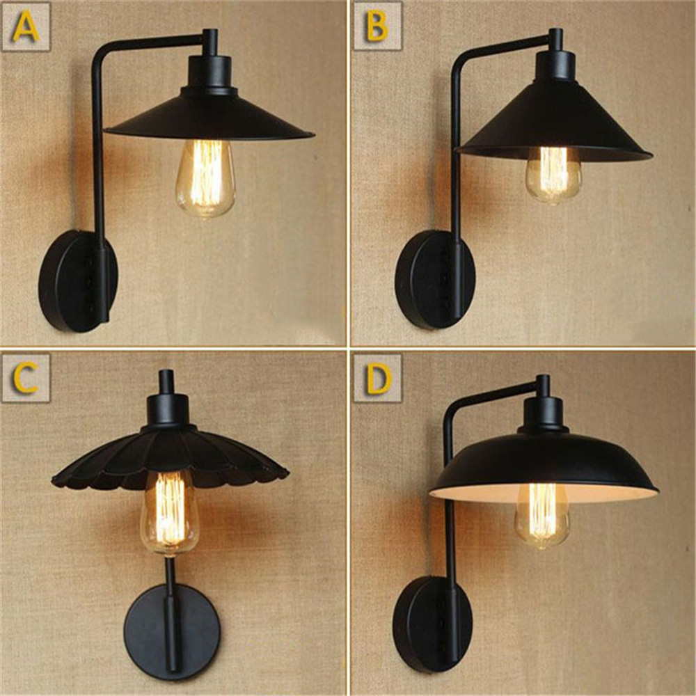 Vintage Black wall lamp lights Vintage lid plate unbrella Lotus leaf white Metal shade sconces arandela loft industrial lighting