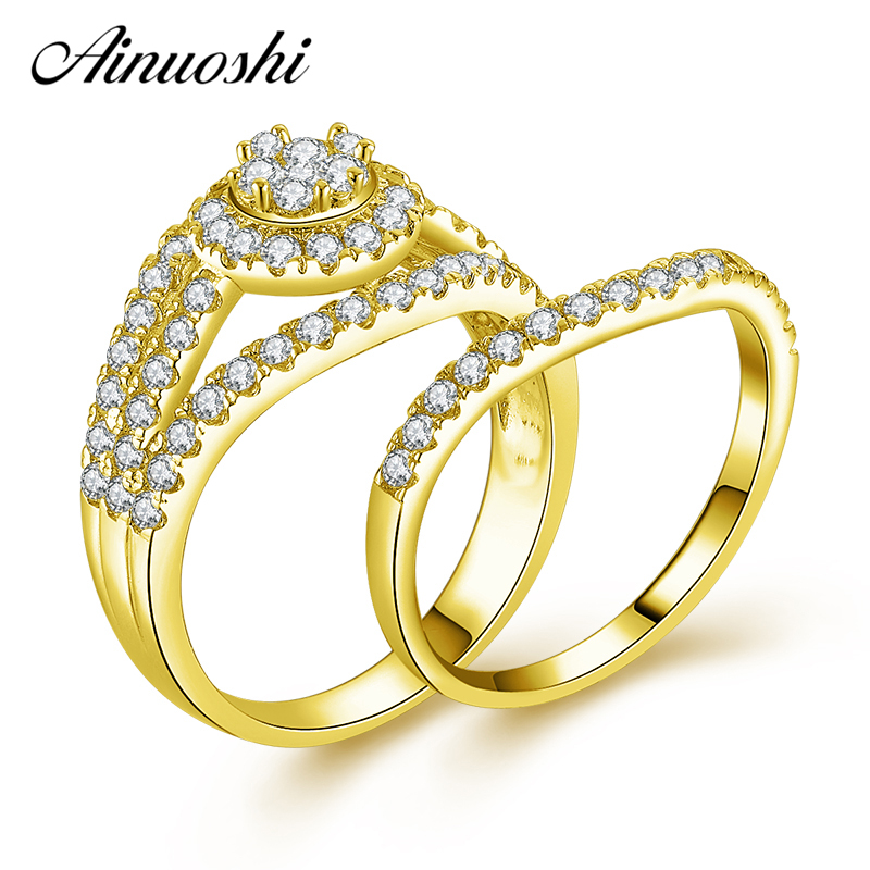 AINUOSHI 14K Solid Yellow Gold Bridal Ring Set Wedding Band Shining SONA Diamond Woman Engagement Cluster Ring Jewelry GiftAINUOSHI 14K Solid Yellow Gold Bridal Ring Set Wedding Band Shining SONA Diamond Woman Engagement Cluster Ring Jewelry Gift