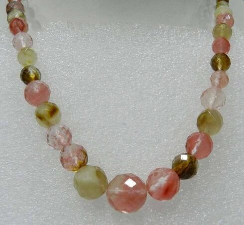 6-14mm Faceted <font><b>Watermelon</b></font> <font><b>Tourmaline</b></font> Round Beads Necklace 18