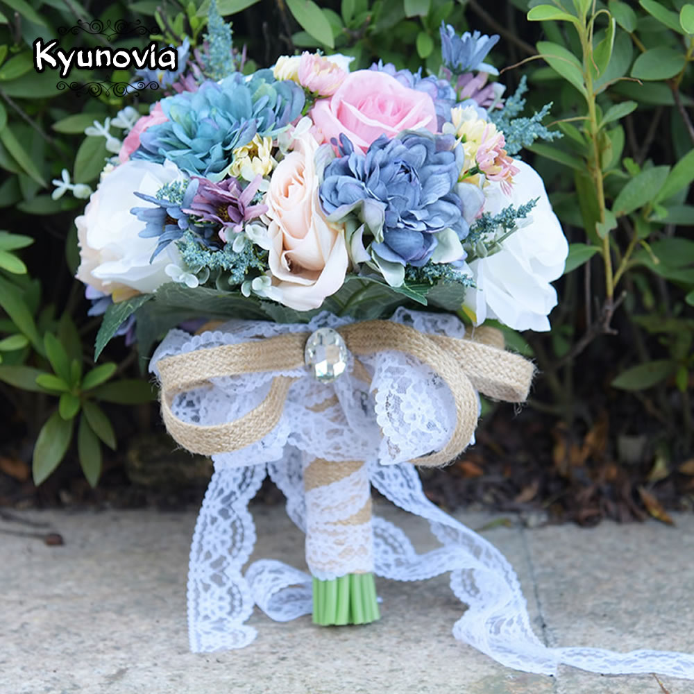 Aliexpress buy kyunovia vintage blue silk wild flowers bouquet aliexpress buy kyunovia vintage blue silk wild flowers bouquet for wedding plain color bridal bouquet wedding centerpieces home decoration fe81 from izmirmasajfo