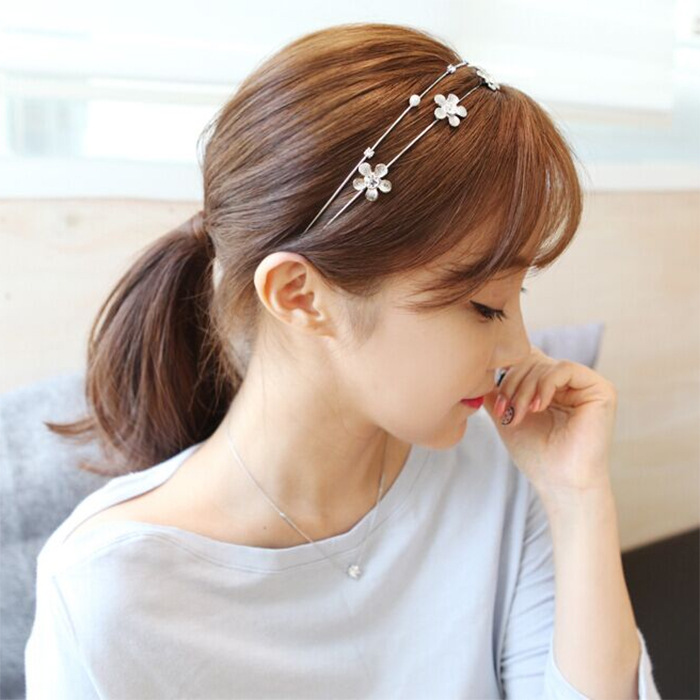 Simple hair hoop double crystal hairpin sweet hairbands South Korea jewelry