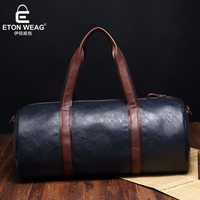 ETONWEAG Famous Brands Cow Leather Men Travel Bags Hand Luggage Blue Vintage Organizer Duffle Bag Barrel Shaped Traveling Bag
