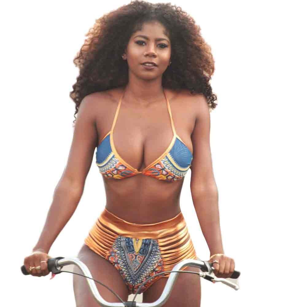 le donne africane stampa bikini costumi da bagno push up reggiseno imbottito costume da bagno femminile