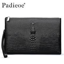 Padieoe Luxury Brand Crocodile Pattern Men Clutch Bags High Quality Genuine Cow Leather Men Wallets New Designer Handbags Male