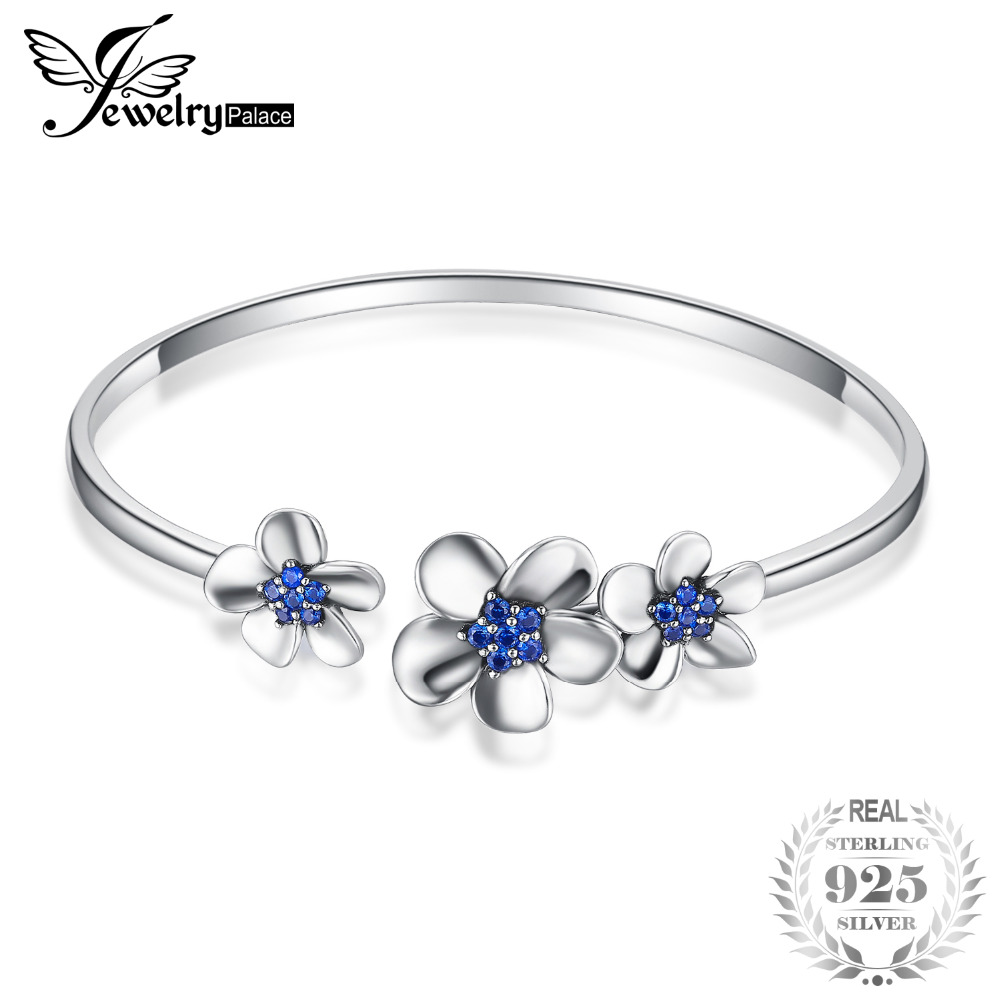 JewelryPalace New 3 Sleek Daisy 0.5ct Created Blue Spinal Adjustable Cuff Bracelet Bangles For Women 925 Sterling Silver Jewelry delicate silver cuff bracelet for women page 3