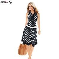 Dropshipping New Women Cute Dot Print Turn Down Collar Sleeveless Loose Dress With Belt S XXL