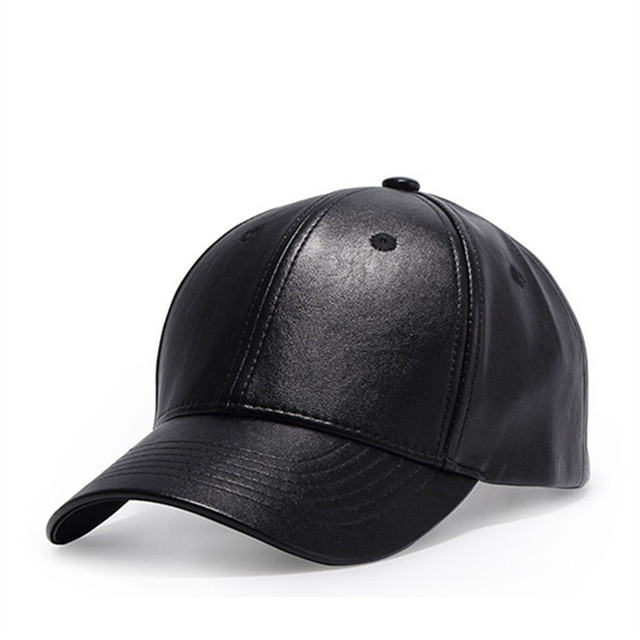Simple Classic Men Women black leather Baseball Cap Bone Brand solid Black  Snapback leather Street hats 45bf13ab457