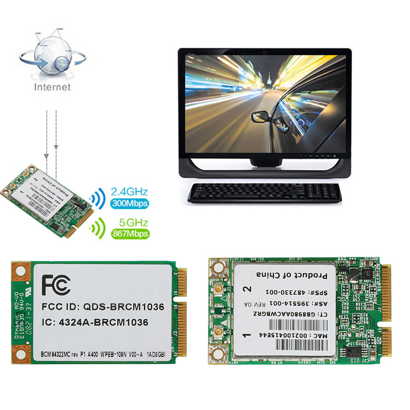 Wireless-N WIFI 300M BCM94322MC Dual Band Mini PCI-E Card For HP SPS:487330-001 - New hot image