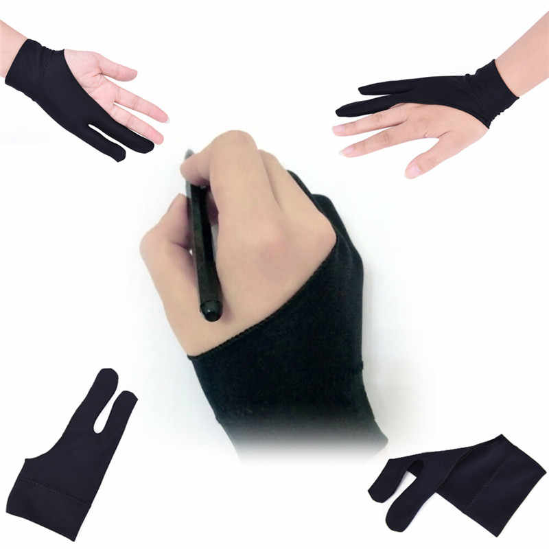 Artist Drawing Glove for Any Graphics Drawing Table 2 finger Anti-Fouling Both for Right And Left Hand Drawing Gloves Free Size