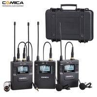 Comica 96 канал частоты UHF Перезаряжаемые беспроводные ПЕТЛИЧНЫЕ микрофон Системы для Canon Nikon DSLR Камера, XLR видеокамеры, смартфоны