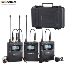 Comica 96-Channel UHF Rechargeable Wireless Lavalier Microphone System for Canon Nikon DSLR Camera,XLR Camcorders,Smartphones high end uhf 8x50 channel goose neck desk wireless conference microphones system for meeting room