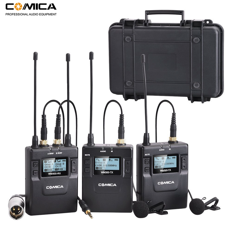 Comica CVM-WM300 96-Channel UHF Wireless Lavalier Lapel Microphone System For Canon Nikon DSLR Camera,XLR Camcorders,Smartphones