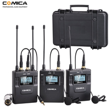 Comica CVM WM300 96 チャンネル UHF ワイヤレスラベリアラペルマイクシステム一眼レフカメラ、 XLR ビデオカメラ、スマートフォン