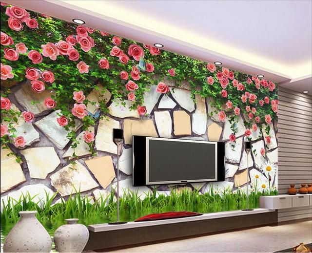 Lovely 3d Wallpaper Benutzerdefinierte Foto Vlies Mural Die Rose Blume Stein  Wanddekoration Malerei 3d Wandbilder Wallpaper Für