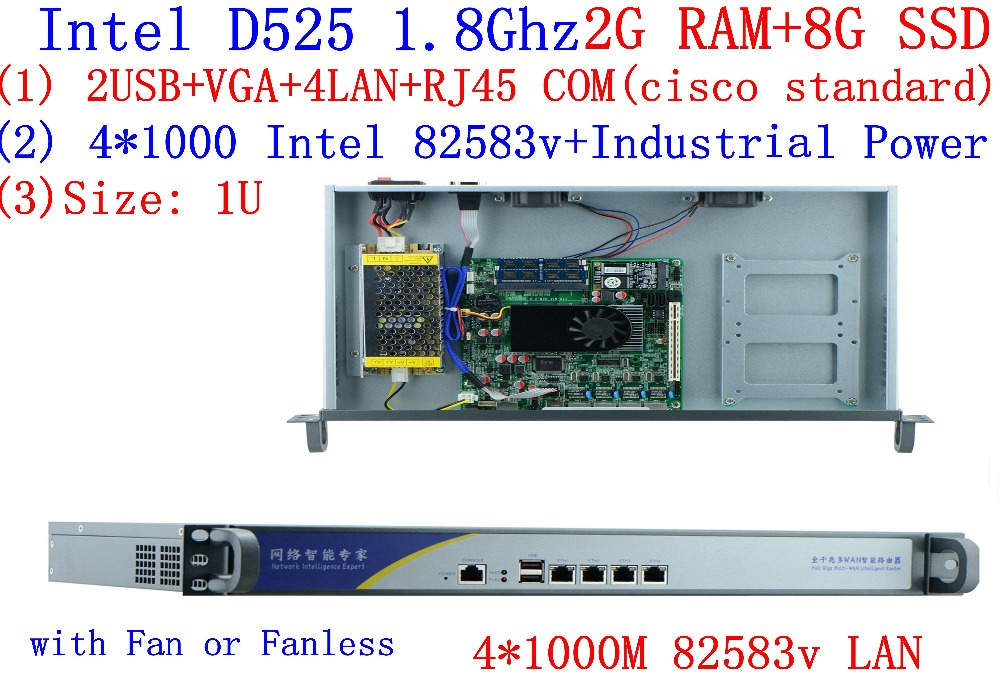 Advanced Industrial Network Firewall Router With 4*intel 82583v Gigabit LAN Atom D525 Support ROS Mikrotik PFSense 2G RAM 8G SSD