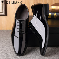 Designer Classic Mens Dress Shoes Luxury Brand Patent Leather Oxford Shoes For Men Wedding Formal Shoes Sapato Social Masculino