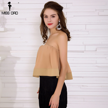 Missord 2018 Sexy Off Shoulder Backless Ruffles Female Summer Short Top FT8342