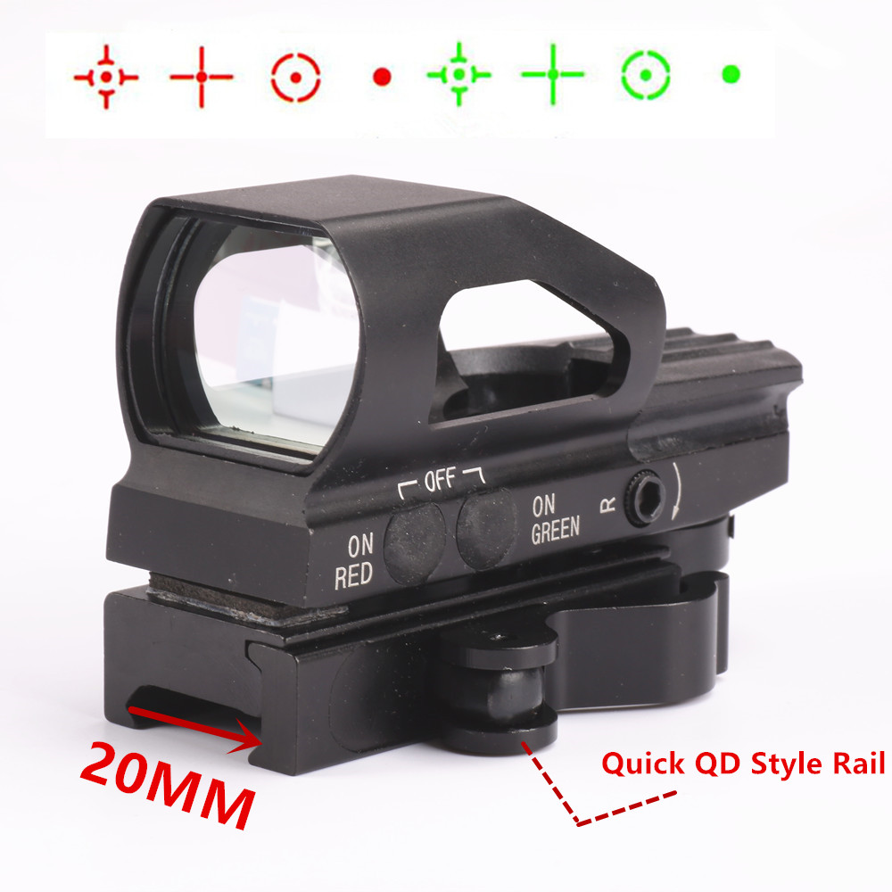 Red and Green Dot Illuminated 4 Reticle Reflex Sight Laser Touch-tone Scope Picatinny Weaver 20mm QD Quick Release Rail Mount