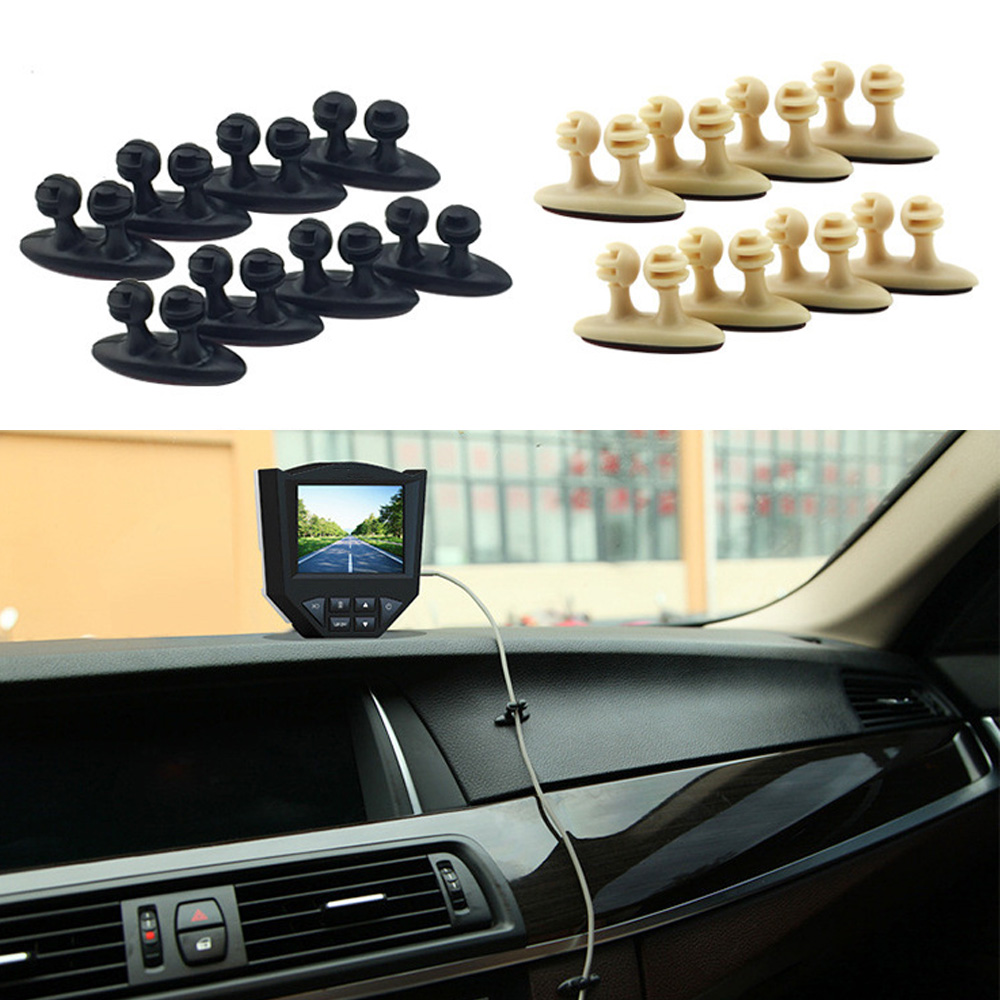 8Pcs Car Wire Cord Cable Holder Tie Clips Line Fixer Organizer Drop Adhesive