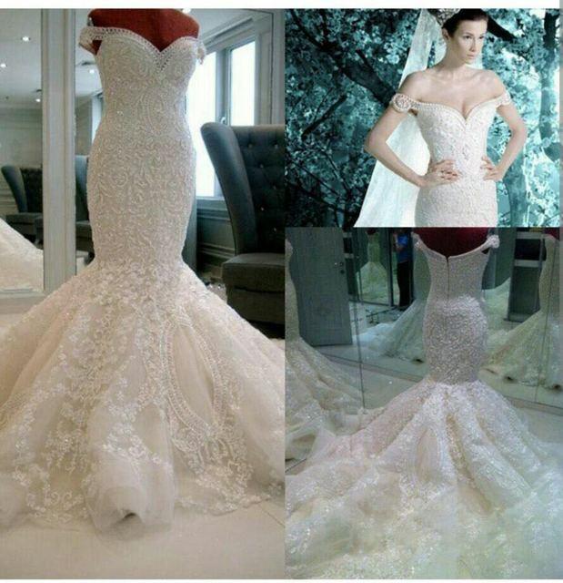 Wow Hot Ivory Mermaid Wedding Dresses Off The Shoulder Sweep Train Royal Pearls